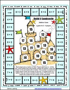 Free Addition Games for Fact Fluency: Addition Math Board Games - Please enjoy the Build A Sandcastle Addition Board Game by Games 4 Learning. This math board game p - Free Math Games, Math Board Games, Math Boards, Fun Games, Logic Games, Dice Games, Math Classroom, Kindergarten Math, Teaching Math