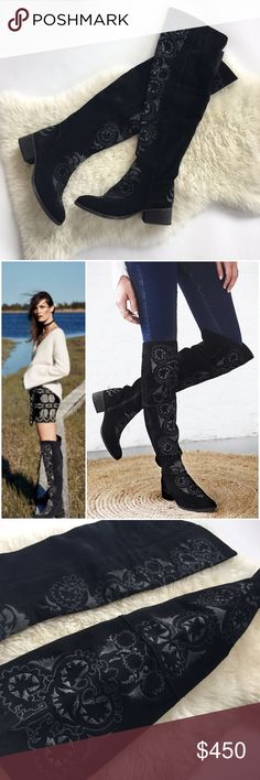 Free People High Noon Suede Over the Knee Boots These embroidered black suede otk boots are stunning! In the rare, hard to find black color that's sold out everywhere. These sold so fast (for $598!) that they never even went on sale! They feature embroidery throughout, side zips for easy on off, & a stretch panel on the back for comfort and fit. Size stated on sole: 39 Euro. They're brand new in box but have slight imperfections on embroidery (see pics for details)-purchased as is b/c I…