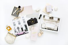 Product Styling and Photography by Shay Cochrane 2014 www.shaycochrane.com | Travel Art Prints by Taryn St. Michele Chanel, Laduree Macaroons, gold, fashion