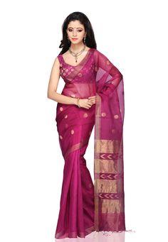 Fuchsia Pure Matka Silk Bengal Handloom Saree with Blouse