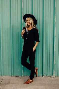 Black Jumpsuit with Sleeves | ROOLEE