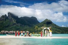 Not a bad location for a #destinationwedding, eh? We'd RSVP yes to this one! #tahiti {Tahiti.com}