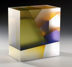 Jiyong Lee - Leaf Cuboid , 2010   cut , color laminated, carved, optic glass