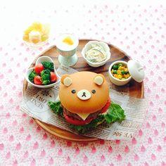 Bear hamburger bento