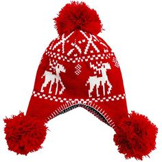 Knit Winter Ski Hat Snowboard Cap Snowflake Deer Print Hat for Ladies