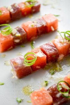 Fresh ahi tuna, delicious crisp watermelon, and simple but delicious ingredients…