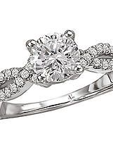 Semi-Mount Diamond Ring in 14kt White Gold with a Woven Design Shank. (D.1/3 carat total weight; does NOT include center stone as shown)  http://www.houstondiamondandgem.com/  Engagement ring // Wedding Ring // Diamond Ring