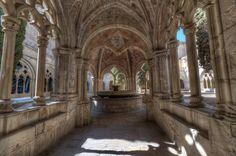 Fountain in Poblet Monastery Cloister in Catalonia, Spain