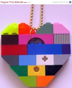 ON SALE Funky colorful necklace  Chunky heart by MademoiselleAlma, $20.99