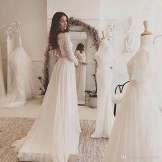 Lace And Chiffon Beach Wedding Dress Long Sleeve Rustic Wedding Dress Vestidos De Noivas Para Casamento Brides Dress Latest Wedding Gowns From Cecile19911, $125.63| Dhgate.Com