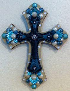 blue embellished cross by Idratherbeshelling on Etsy