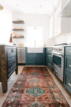 We decided it was a good idea to put together a little guide on the perfect rug placement for your space. Boho Kitchen, Kitchen Rug, New Kitchen, Kitchen Decor, Kitchen Design, Space Kitchen, Kitchen Sink, Kitchen Ideas, Home Design