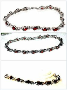 """Red Garnet Bracelet 8.00 cts 7.5"""" Sterling Silver USA Seller Christmas In July #ebay http://stores.ebay.com/JEWELRY-AND-GIFTS-BY-ALICE-AND-ANN"""