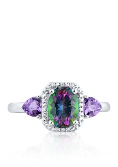 Free shipping on orders $99+, plus easy returns! Belk & Co. Mystic Fire Topaz & Amethyst Diamond Ring Set in Sterling Silver: This ring features 1.9 ct. t.w. mystic fire topaz, amethyst, and diamonds measuring 16.29-mm. in length by 9.61-mm. width set in sterling silver. Almost all gemstones have been treated to enhance their beauty and require special ...
