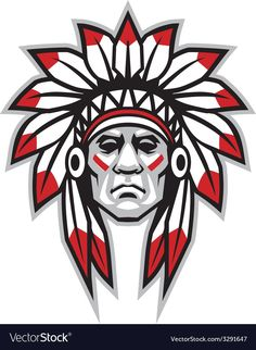 Illustration of Graphic Native American Indian Chief Mascot with Headdress vector art, clipart and stock vectors. Native American Warrior, Native American Artwork, Native American Indians, Tattoo Indien, Indian Chief Tattoo, Indian Head Tattoo, Indian Illustration, American Indian Tattoos, American Indian Art