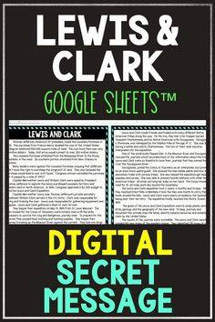 Digital Lewis and Clark Secret Message Activity. Have some digital fun with this Lewis and Clark Secret Message for Google Sheets ™. Students will read a non-fiction passage and answer questions. Correct answers will begin to reveal the secret message! Great self-checking reading comprehension activity for distance learning or computer day. Topics include: Lewis and Clark expedition, Sacagawea, Thomas Jefferson, Louisiana Purchase #LewisandClark #USHistory #distancelearning #digital… 4th Grade Ela, 5th Grade Classroom, 5th Grade Reading, Upper Elementary Resources, Elementary Schools, Louisiana Purchase, Reading Comprehension Activities, Lewis And Clark, Thomas Jefferson
