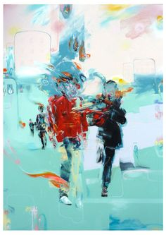 Walking and Talking - Painting by Mike Carr