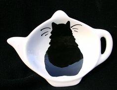 Black Cat Ceramic Tea Bag Holder. $5.00, via Etsy.