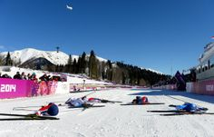 Here's the finish line after Saturday's women's cross-country skiing event, the skiathlon 7.5 km classic + 7.5 km free. The three medalists, Norway's Marit Bjoergen, Sweden's Charlotte Kalla, and Norway's Heidi Weng, are all in there, as well as the athletes who finished fourth and fifth. Cross-country is so physically grueling that athletes traditionally collapse the second they cross the finish line.