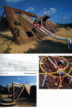 Mikumayama Children's Park, Sumoto, Japan. I doubt if this is still in existence - the photo looks to be from the late 70s, but isn't that a cool structure and an imaginative slide!