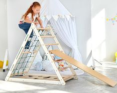Items similar to HUGE Pikler Triangle, Montessori inspired Climbing triangle, Step Pickler for toddler, Triangular climb play gym frame Ladder, Net Climber on Etsy Natural Playground, Outdoor Playground, Outdoor Jungle Gym, Toddler Climbing Toys, Kids Climbing Frame, Toddler Gym, Escalade, Play Gym, Montessori Toddler