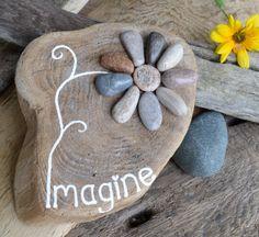 IMAGINE. One of a kind, Rock art, Hand Painted Driftwood Art, Lake Huron pebble flower,driftwood art, Garden art, Beach art, Great Lakes art