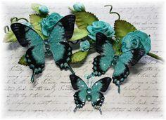Deep Teal Glitter Glass Butterflies for by LittleScrapShop on Etsy