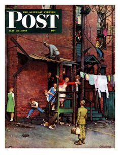 """""""Homecoming G.I."""" Saturday Evening Post Cover, May 26,1945 Giclee Print by Norman Rockwell at Art.com"""