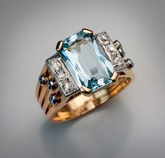 Art Deco Rings - Vintage Aquamarine and Diamond Ring - Antique Jewelry | Vintage Rings | Faberge Eggs