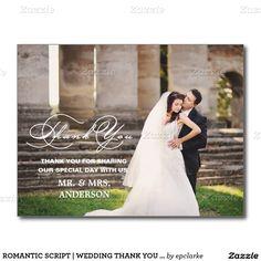 ROMANTIC SCRIPT | WEDDING THANK YOU POSTCARD