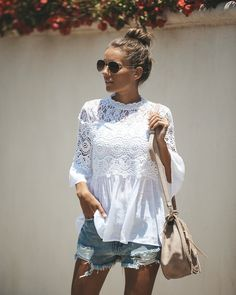 Calavares Crochet Top - Off White Ibiza Outfits, Off White, Crochet Top, Look, Bell Sleeves, Ruffle Blouse, Tunic Tops, My Style, Womens Fashion