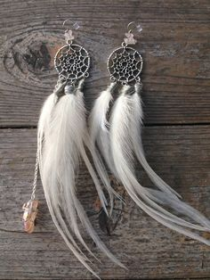 White Dreamcatcher Goddess Earrings, white feather earrings, angel, hippie chic, long feather earrings, crystal