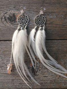 White Dreamcatcher Goddess Earrings, white feather earrings, angel, hippie chic, long feather earrings, crystal