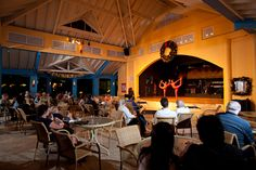 Nightly entertainment at our Sunset Lounge at St. James's Club Morgan Bay