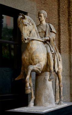 *HERCULANEUM, ITALY ~ Equestrian statue of Marcus Nonius Balbus. Second half of the century BCE. Head is an century work. Roman Sculpture, Horse Sculpture, Naples Museum, Equestrian Statue, Pompeii And Herculaneum, Roman History, Roman Art, 1st Century, Ancient Artifacts