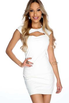 #FashionVault #diamond clubwear #Women #Dresses - Check this : Sexy White Cap Sleeve Cut Out Faux Leather Body Con Party Dress for $24.99 USD