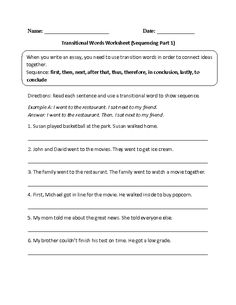 Printables Transition Words Worksheet transition words worksheet lesson planet language activities these transitional worksheets are great for working with use the