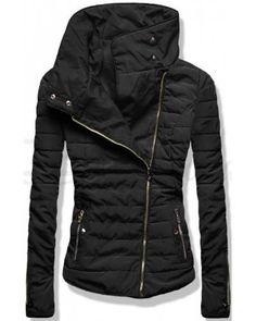 Dámská prošívaná bunda s vysokým límcem JK201 černá