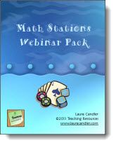 Laura Candler's Math Stations Webinar Pack: Includes everything you need to implement Math Stations in your classroom- Full Elluminate Live Math Stations recording, Math Stations Only MP4 Video, Mp3 Audio, Webinar Printables and Math Presentation Slides. ($)