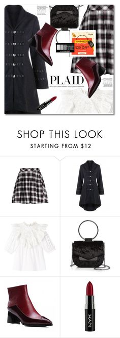 """""""Check It: Plaid"""" by svijetlana ❤ liked on Polyvore featuring Rebecca Taylor, Nasty Gal, NYX, plaid, plaidskirt, redboots and laceupcoat"""