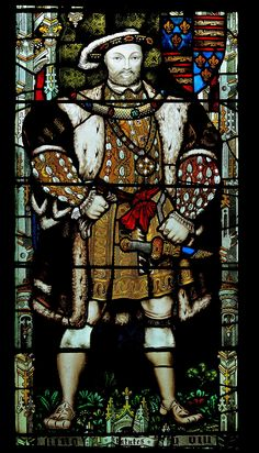"""""""Henry VIII"""" stained glass window, Canterbury Cathedral, Kent, England: he weighed 392 lbs! Uk History, Tudor History, European History, British History, Asian History, History Facts, Ancient History, Rey Enrique Viii, Renaissance"""