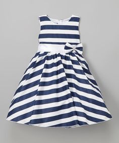 This Kid Fashion White & Navy Stripe Sash A-Line Dress - Infant, Toddler & Girls by Kid Fashion is perfect! #zulilyfinds