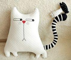 Décoration de canapé à la maison Toy Doll. Необычная подушка в виде кота, инструкция по шитью Sewing Pillows, Diy Pillows, Pillow Tutorial, Diy Tutorial, Fabric Toys, Fabric Crafts, Sewing Toys, Sewing Crafts, Sewing Projects