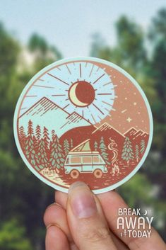 Westy in a yin yang day and night scenario - sticker, that is weather durable and vegan. Bus Camper, Vw Bus, Graphic Design Print, Graphic Prints, Yin Yang Art, Yin Yang Designs, Love My Best Friend, Barn Quilts, Rook