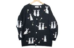 Rabbit Theme Easter Bunny Tacky Ugly Sweater / Cardigan Women's Size XL $18 @ TheUglySweaterShop.com