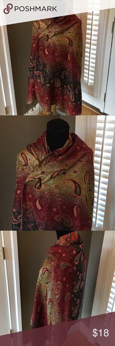 Gorgeous vtg Pashmina silk wrap w/metallic accent Gorgeous pashmina shawl wrap scarf pashmina Accessories Scarves & Wraps