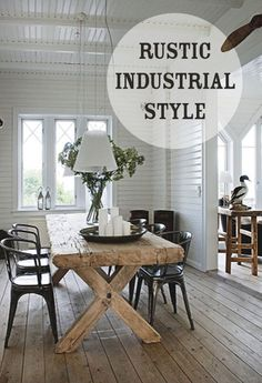 Rustic Industrial Home Decor. Wonderful Rustic Industrial Home Decor Ideas. why Industrial Rustic Decor is the Design Trend You Ve Been Farmhouse Table, Modern Farmhouse, Rustic Table, Wood Table, Rustic Modern, City Farmhouse, Coastal Farmhouse, Table Legs, Coastal Country