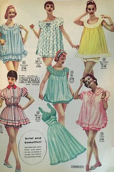 Beautiful new vintage nightgowns, vintage pajamas, baby doll nighties, and silky Old Hollywood robes. Classic nightgowns made new again. Baby Doll Pajamas, Baby Doll Nighties, Baby Dolls, Vintage Inspired Dresses, Vintage Outfits, Vintage Fashion, Fashion Goth, Nightgown Pattern, Patron Vintage