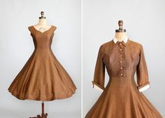 Vintage 1950s Bronze Full Skirt Party Dress with Matching Jacket