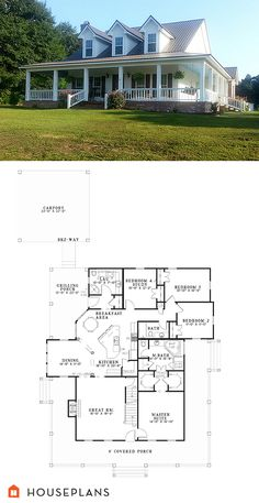 Country Plan #17-1017. houseplans.com #Houseplans #Floorplans #CountryStyleHousePlan